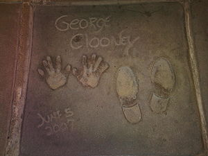 George Clooney's footprint and handprint on th...