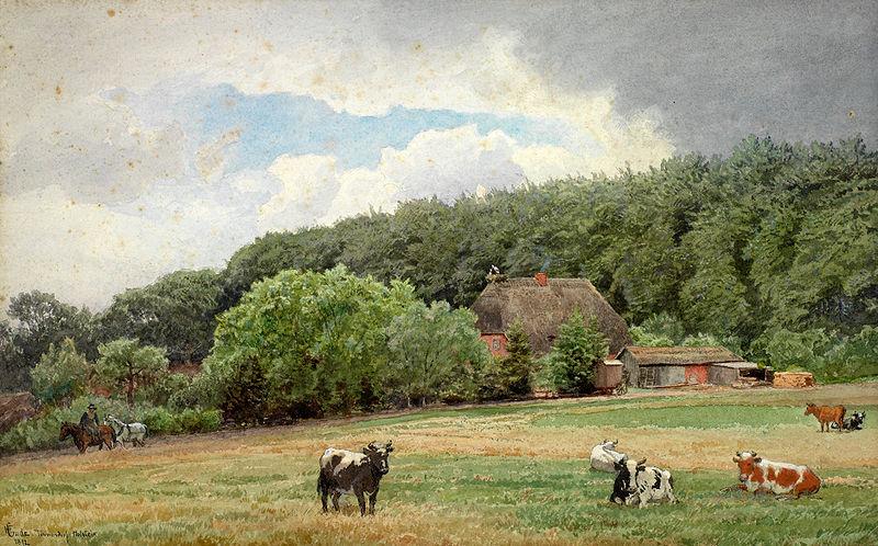 File:Hans Gude - Bondegård med beitende kuer (1892).jpg