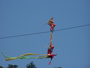 Acrobats performing a high wire act