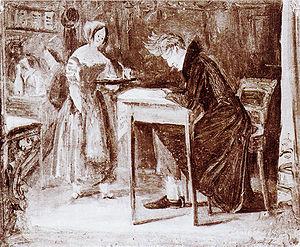Kierkegaard in a coffee-house, an oil sketch b...