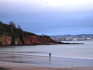 Lone jogger, Broadsands beach, Torbay The peac...