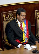 Nicolás Maduro assuming office as President of Venezuela on 19 April 2013