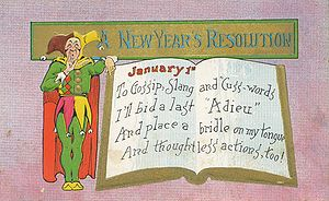 "English: New Year's Day postcard. Reads: ""..."