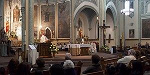 English: Bishop Kevin C. Rhoades preaches duri...