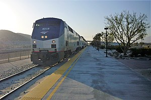 Amtrak's Sunset Limited arriving in Palm Springs.