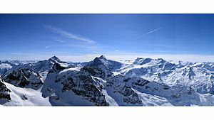View of Swiss Alps from Mount Titlis