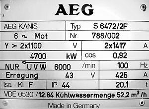 AEG electric motor builders plate.
