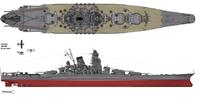 Dibujo del Yamato con su configuración en 1945