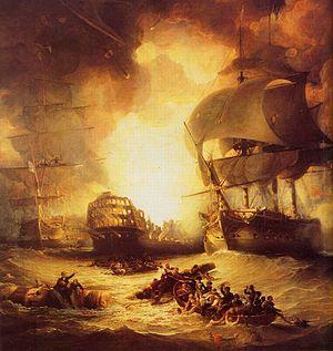 Détail de La destruction de l'Orient au cours de la Bataille du NilGeorge Arnald, 1827, National Maritime Museum