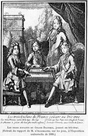Cabanès, Éducation de Princes032 Les trois enfants du Grand Dauphin jouant au Tric-trac.jpg