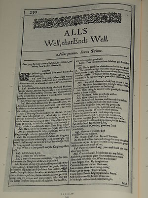 Photo of the first page of All's Well that End...