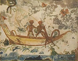 prophet Jonah being thrown into the Sea, catac...