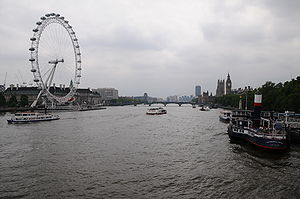 River Thames and the London Eye, London, England.