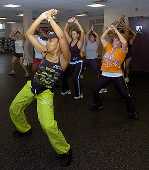 Andrea Knight, Zumba instructor, leads her class