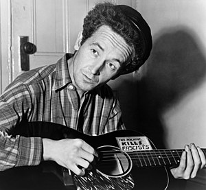 English: Woody Guthrie, half-length portrait, ...