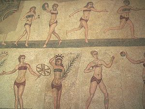 "The ""Bikini girls"" mosaic showing wo..."