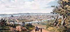 A view of Cincinnati, Ohio from one of the sur...