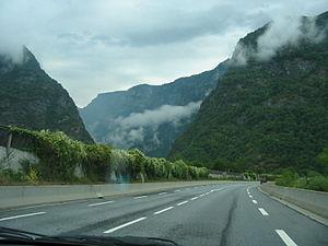 Driving through Alps
