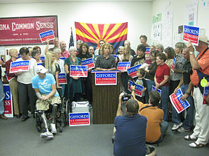 Gabrielle Giffords during a press conference h...