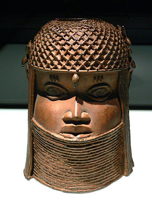 Head of a king oba, Nigeria, Benin kingdom; br...