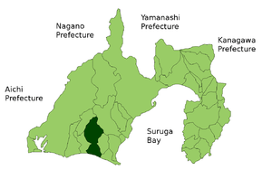 The location of Kakegawa in Shizuoka Prefectur...