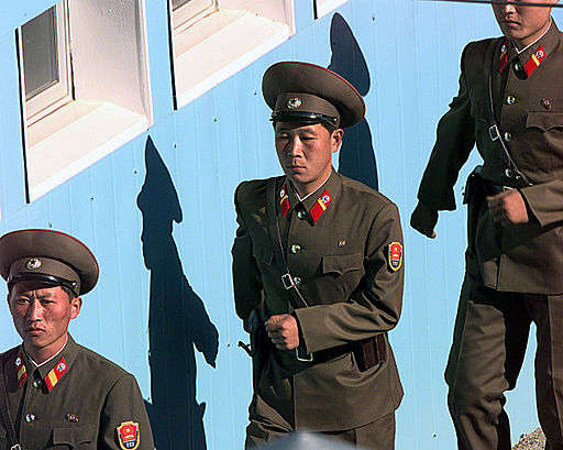 North Korean soldiers are marching