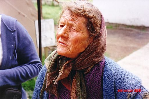 Old serb woman in Kosovo enclave near Peć, Kosovo 2000