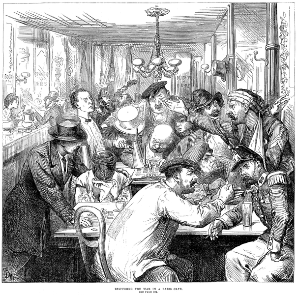 """Discussing the War in a Paris Café""—a scene published in the Illustrated London News of 17 September 1870."