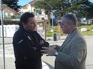 Pat McQuaid (right) chatting with Johan Bruyne...