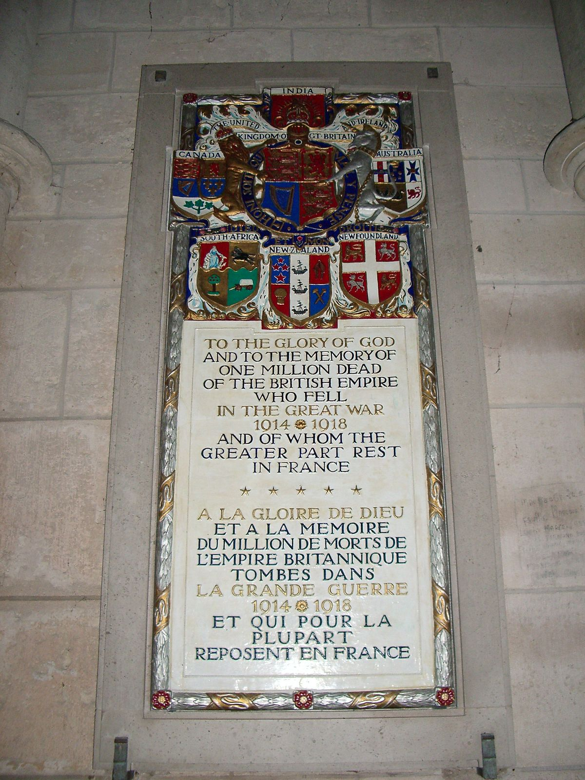 Memorial tablets to the British Empire dead of the First