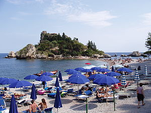 View of Isola Bella from above the beach.
