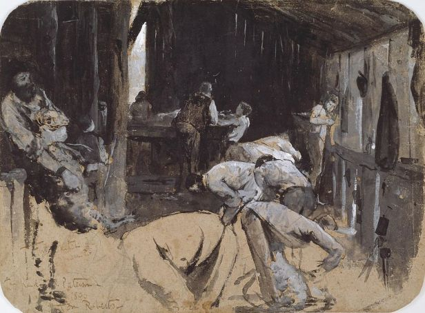 Tom Roberts sketch for Shearing the Rams