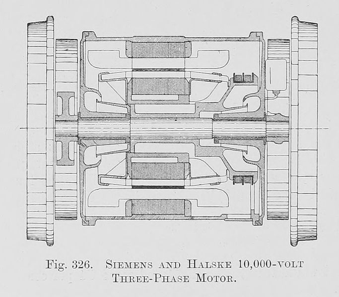 File:326. Siemens and Halske 10,000-volt Three-Phase Motor