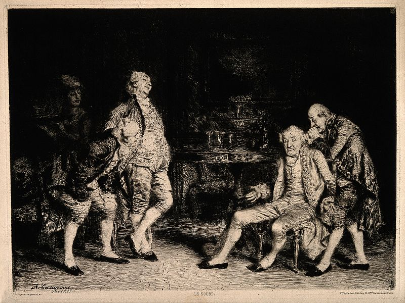 File:A deaf man being made fun of and shouted at by his friends. Wellcome V0016562.jpg