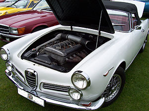 English: Alfa Romeo 2600 engine. Svenska: Alfa...