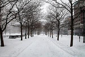 English: A blizzard in Boston, MA.