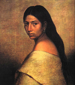 Portrait of a young Choctaw woman her body tur...