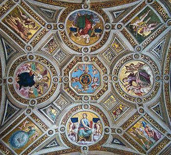 Vatican Museums, Vatican City. A ceiling in th...