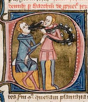 Medieval dentist extracting a tooth. London; c...