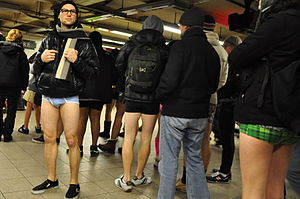 Participants of No Pants Subway ride at Times ...
