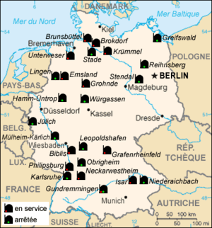 Map in French of the German nuclear power plants
