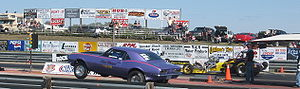 Camaro racer just off the start at SIR, drag s...