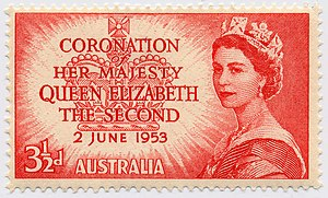 English: Australian stamp, coronation of Queen...