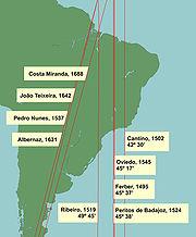 O Meridiano de Tordesilhas segundo diferentes geógrafos: Ferber (1495), Cantino (1502), Oviedo (1545), os peritos de Badajoz (1524), Ribeiro (1519), Pedro Nunes (1537), João Teixeira Albernaz, o velho (1631, 1642) e Costa Miranda (1688).