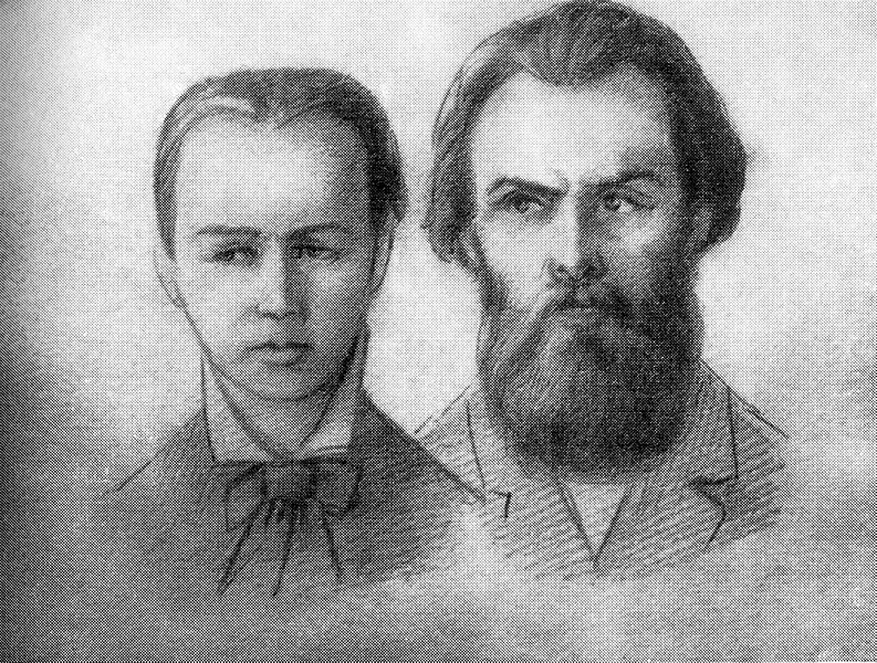 A. Zhelyabov and S. Perovskaya at the Pervomartvtsi trial.