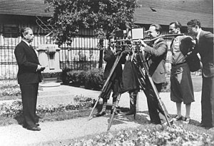 Max Reinhardt is filmed in his garden, 1930.