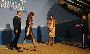 Español: La Presidenta saluda a su par de Esta...