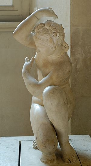 Crouching Aphrodite. Marble, Roman variant of ...