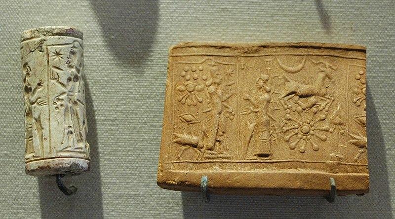 File:Cylinder seal Shamash Louvre AO9132.jpg