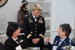 Gen. Ann Dunwoody meets with Rear Adm. Liz You...